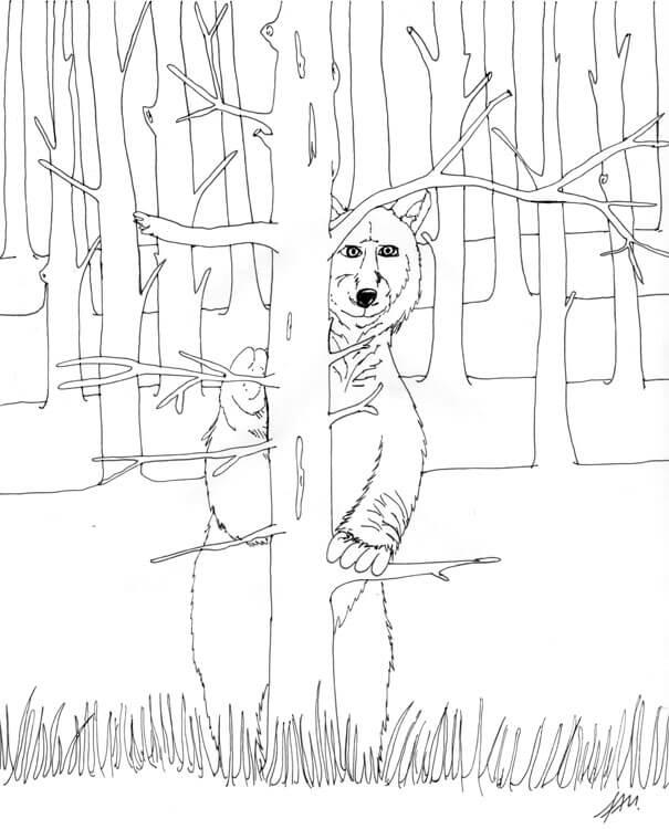 Bär hinter einem Baum - Konturen
