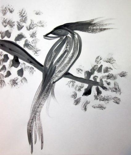 Tuschemalerei Vogel auf Ast