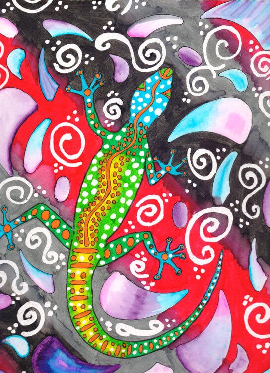Aborigini Eidechse - Fertig