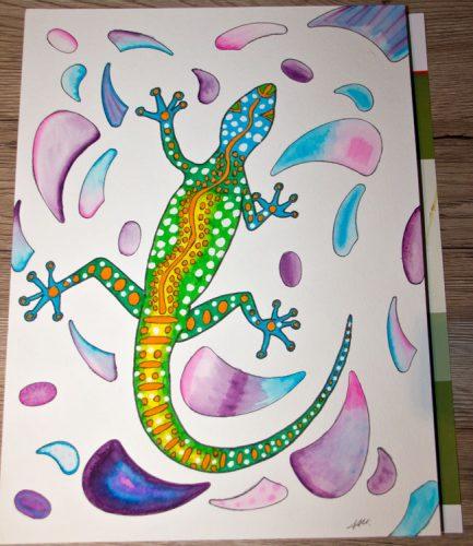 Aborigini Eidechse - Kolorierung Hintergrund 1