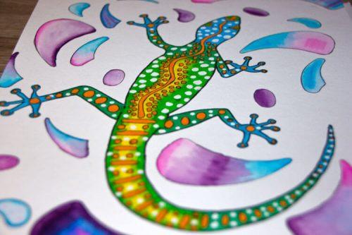 Aborigini Eidechse - Kolorierung Hintergrund 2