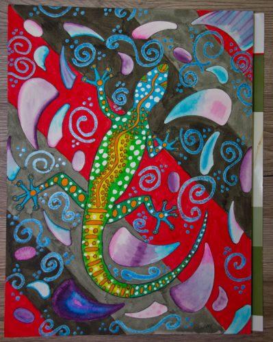 Aborigini Eidechse - Kolorierung Hintergrund 3