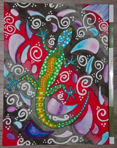Aborigini Eidechse - Kolorierung Hintergrund 4