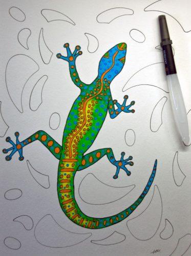Aborigini Eidechse - Kolorierung 3
