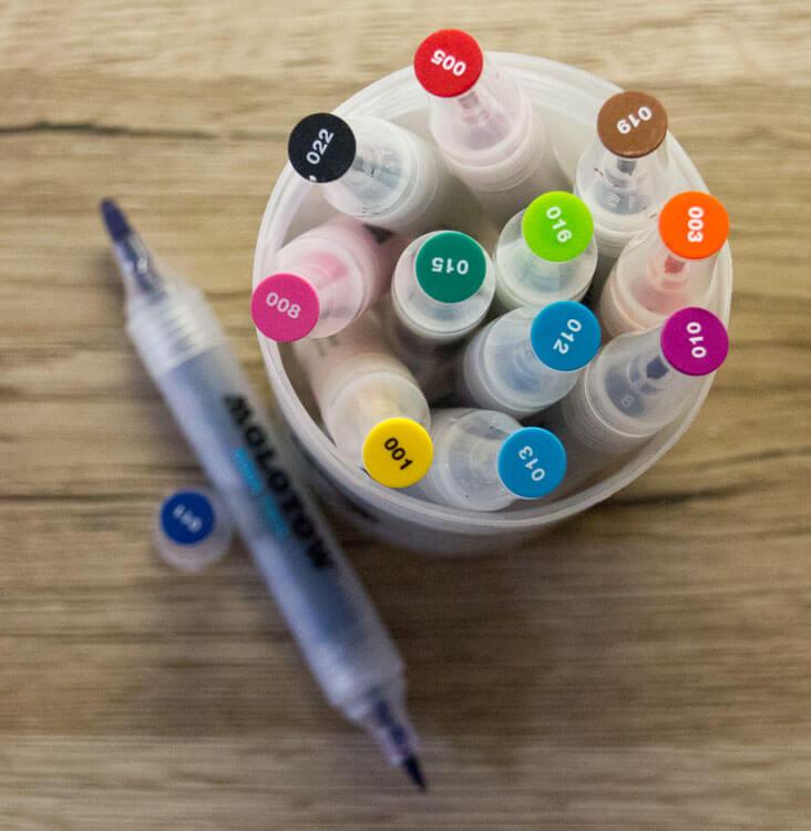 Aqua Twin Marker Aufbewahrungsdose und Stift