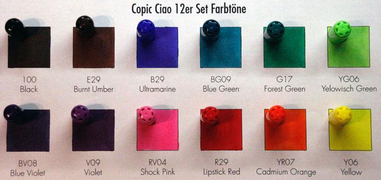 Copic Ciao Kappenfarbe - Vergleich
