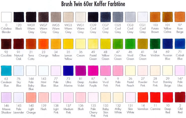 Touch Twin / Brush Koffer - Farbtest