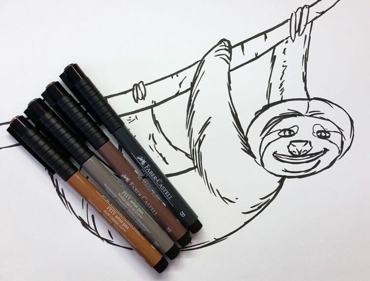 faultier-kolorierung-mit-pitt-artist-pen-brush