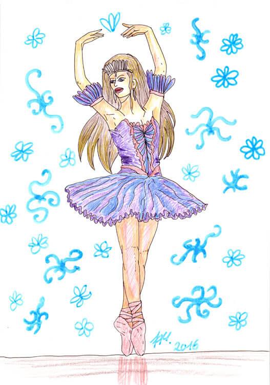 Ballerina - Kolorierung mit Aquarellbuntstift 4