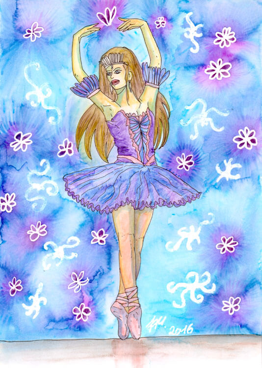 Ballerina Kolorierung: Freigerubbelt