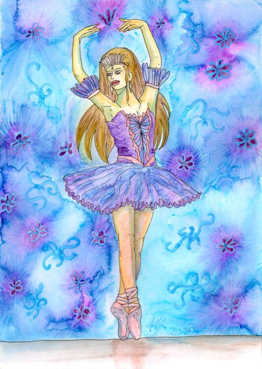 Ballerina Kolorierung: Mit Wasser vermalen
