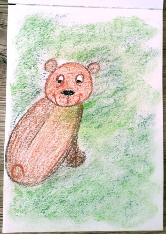Pastellzeichnung: Bär im Wald