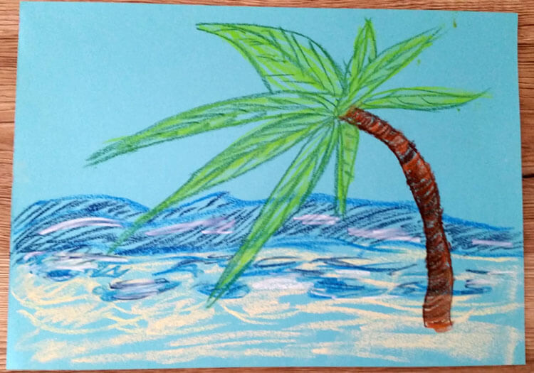Pastellzeichnung: Palme am Strand