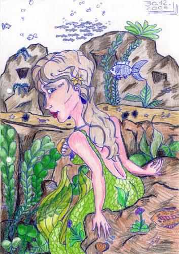2000 - Meerjungfrau, teilweise koloriert