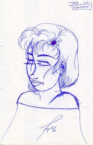 2000 - Portrait mit Kugelschreiber