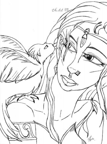 2003 - Magierin mit Vogel auf Schulter