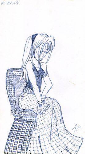 2004 - Frau sitzt im Korbstuhl