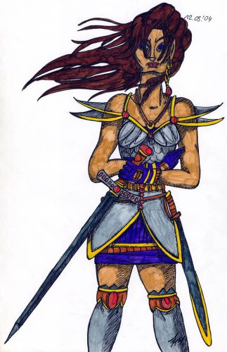 2004 - Kriegerin mit Schwert koloriert
