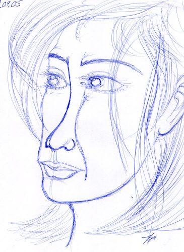 2005 - Portrait mit Kugelschreiber
