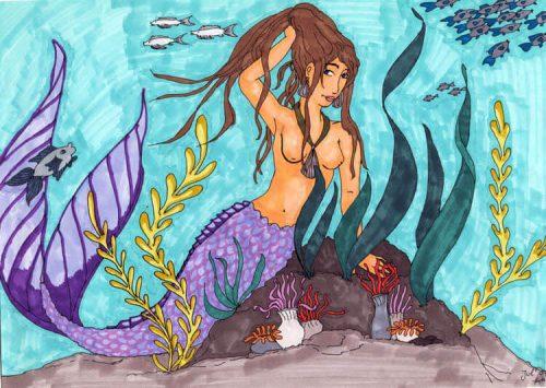 2007 - Meerjungfrau mit Marker koloriert