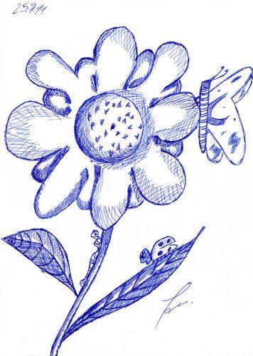 1999 - Blumen mit Kugelschreiber