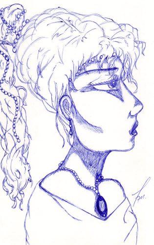 1999 - Frauenportrait mit Kugelschreiber