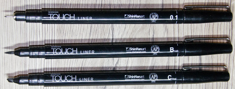 Verschiedene TOUCH Liner in schwarz