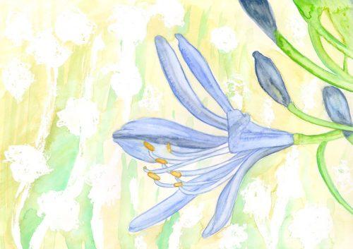 Fertiges Blumenaquarell mit Hintergrund