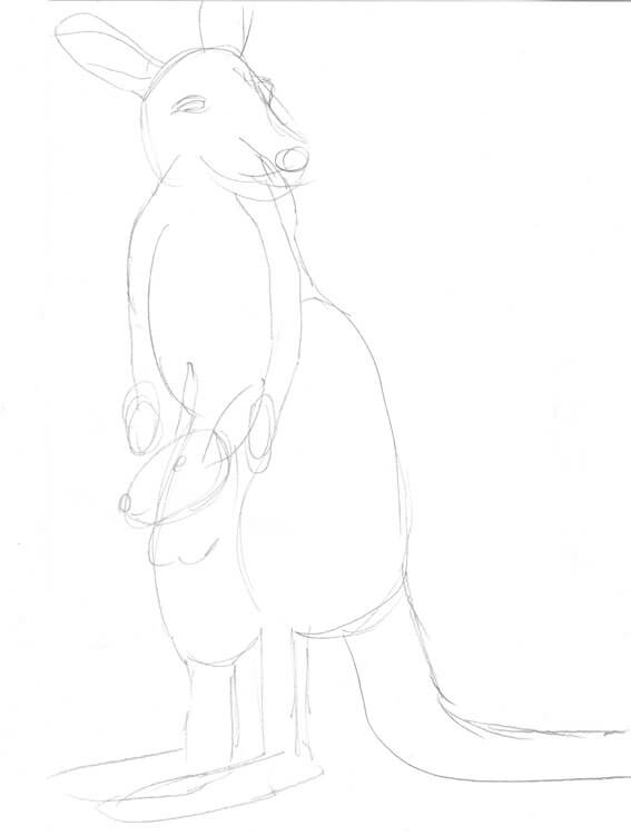 Känguru zeichnen in schneller Bleistiftskizze
