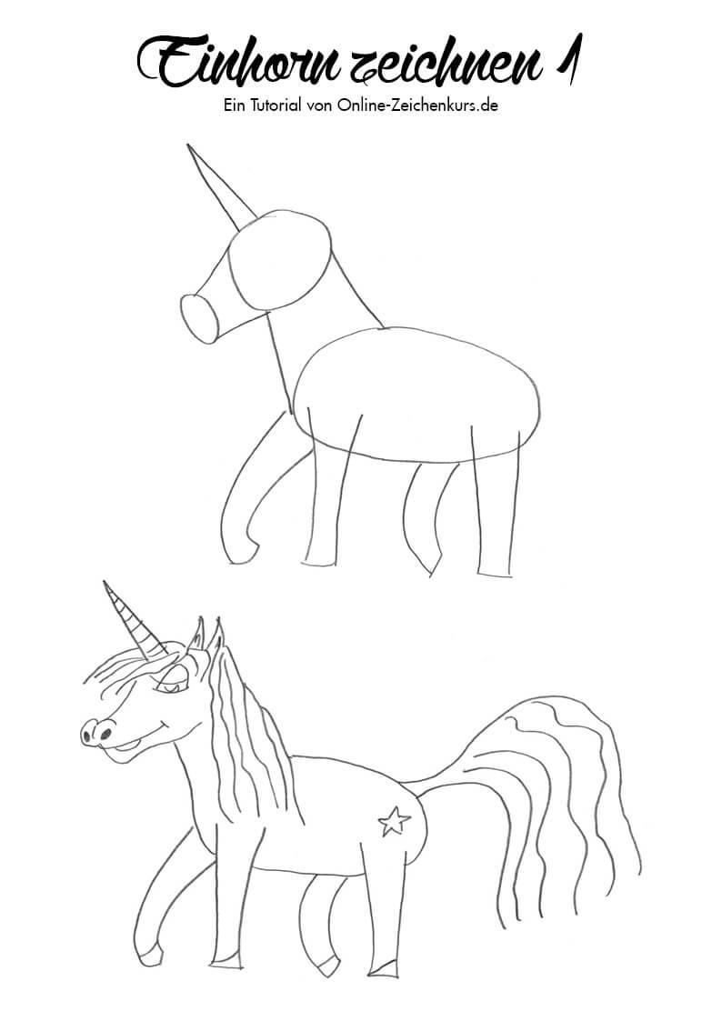 Einhorn zeichnen 1 - Zeichenanleitung