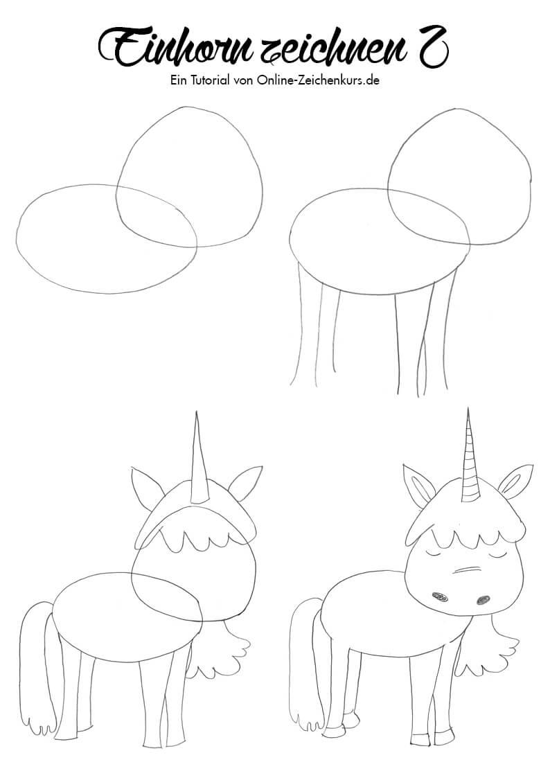Einhorn zeichnen 2 - Zeichenanleitung