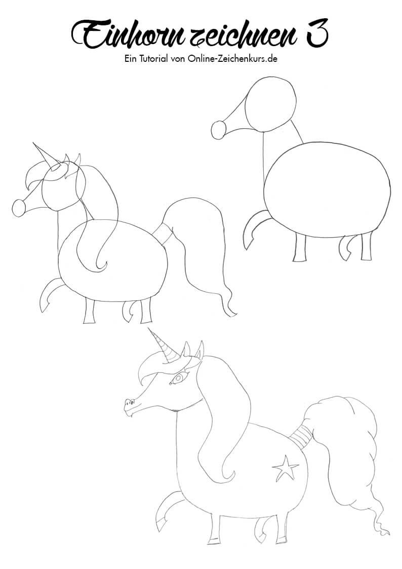 Einhorn zeichnen 3 - Zeichenanleitung