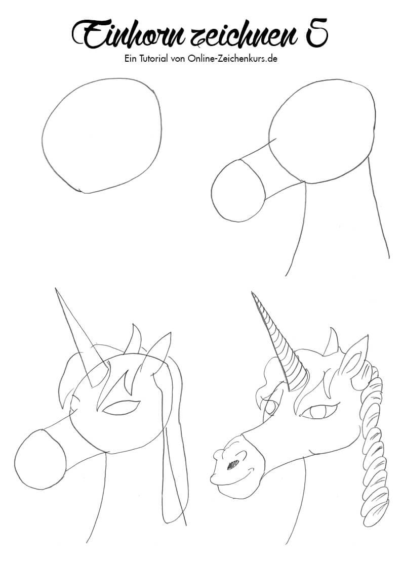 Einhorn zeichnen 5 - Zeichenanleitung