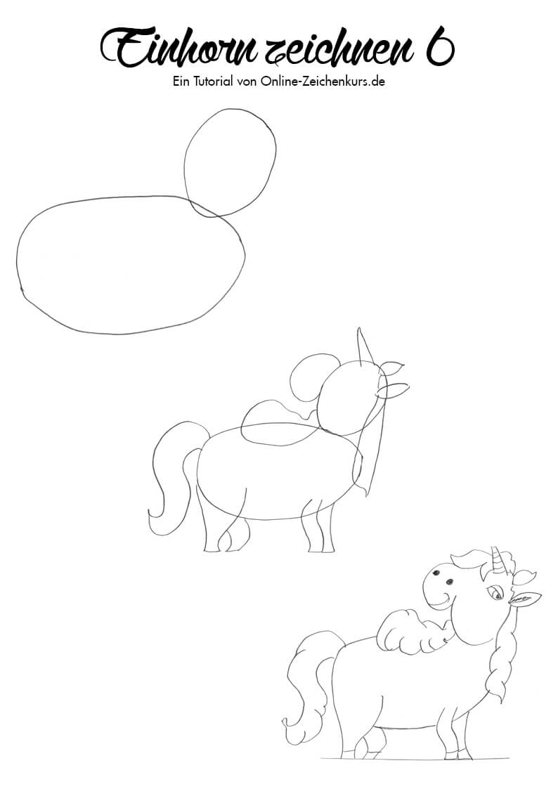 Einhorn zeichnen 6 - Zeichenanleitung