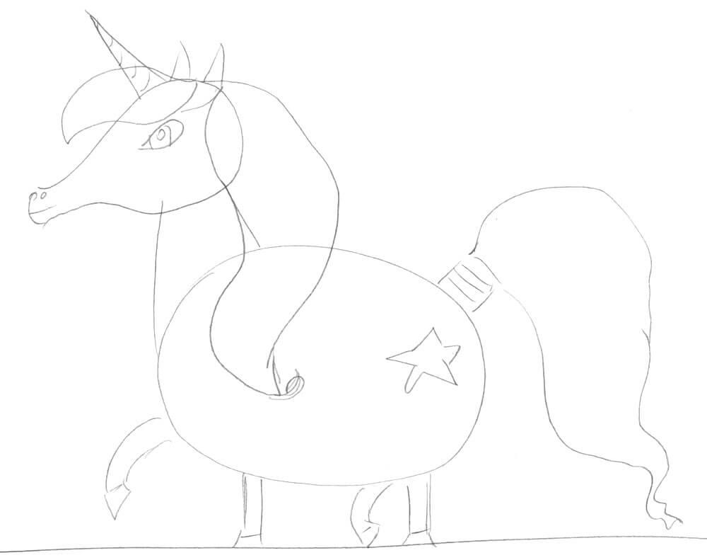 Einhorn zeichnen 3 - Skizze