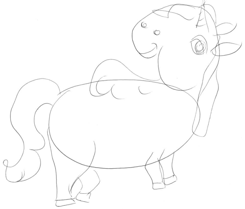Einhorn zeichnen 6 - Skizze