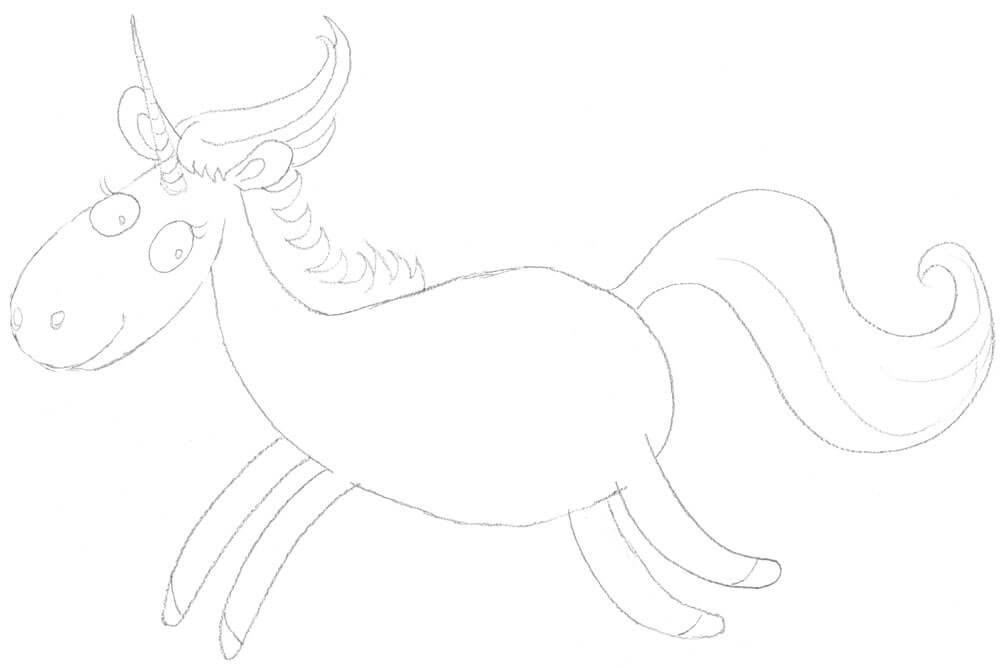 Einhorn zeichnen - Bleistiftzeichnung
