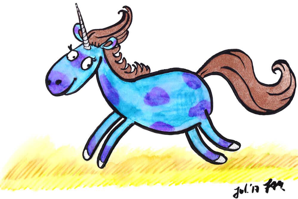 Comic Einhorn zeichnen Kolorierung