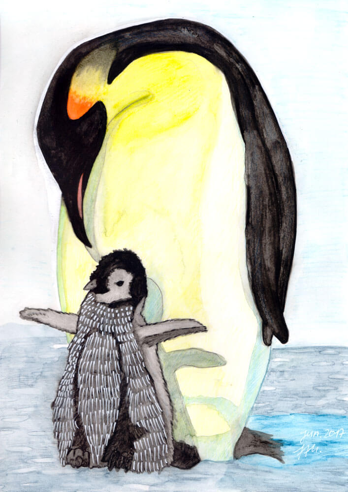 Fertiges Pinguin Aquarell
