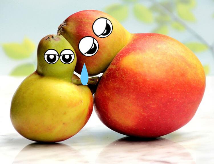 Foto: Birne und Apfel umarmen sich zum Abschied