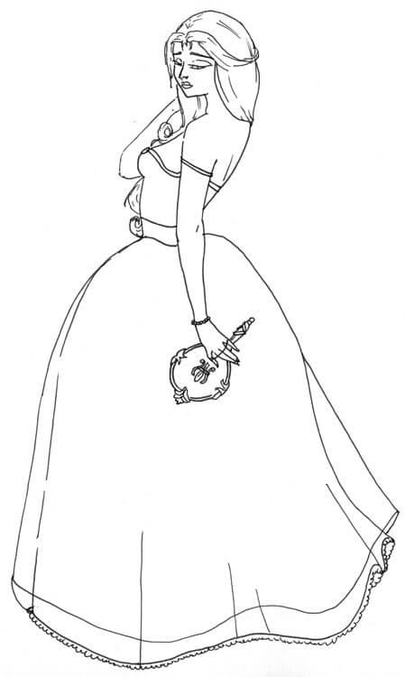 Kolorieren fremder Outlines: Frau im Kleid von Sonofabeach