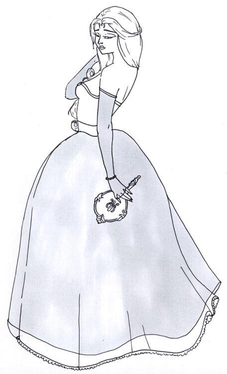 Frau im Kleid Outlines Kolorierung mit Touch Twin Brush 1