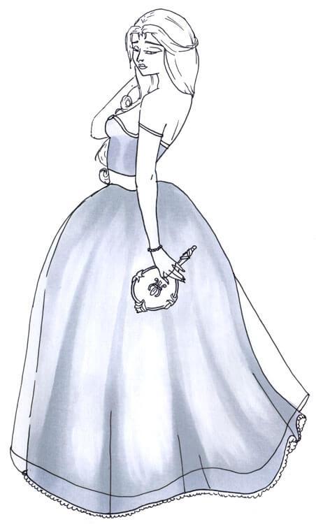 Frau im Kleid Outlines Kolorierung mit Touch Twin Brush 2
