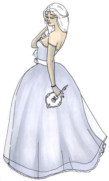Frau im Kleid Outlines Kolorierung mit Touch Twin Brush 3