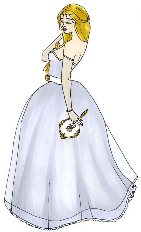 Frau im Kleid Outlines Kolorierung mit Touch Twin Brush 4