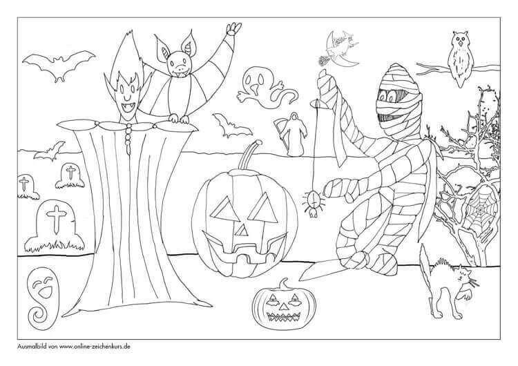 5 Gruselige Halloween Ausmalbilder Für Jung Und Alt Zum Verteilen