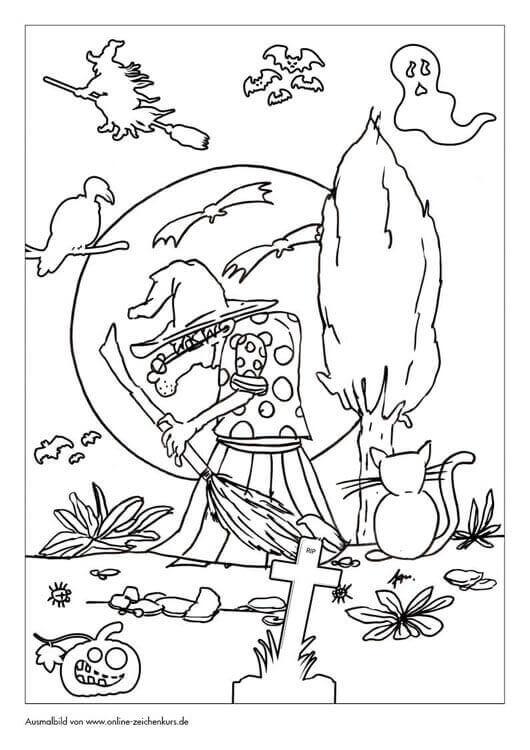 Halloween Hexe vor Vollmondt