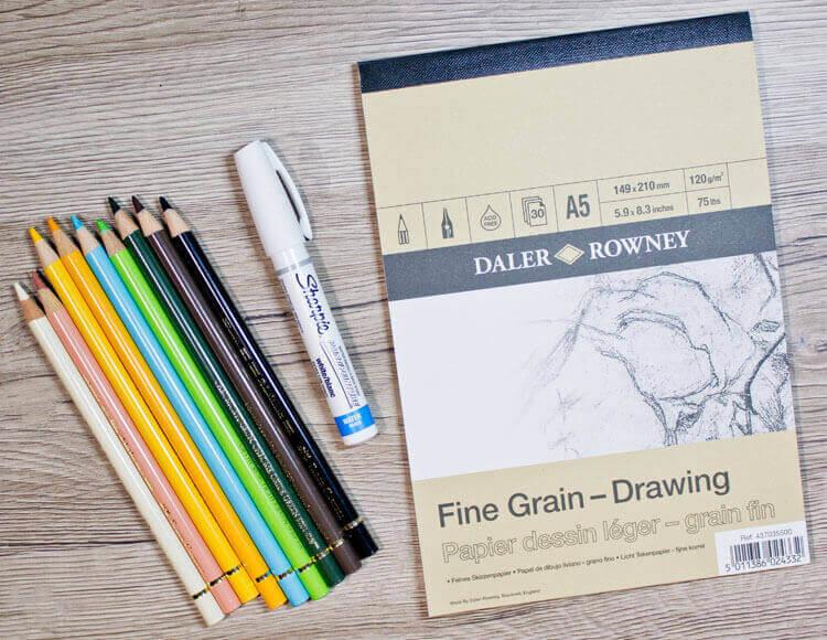 Papier, Polychromos und weißer Stift