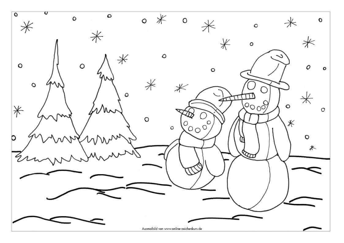 Ausmalbild: Zwei Schneemänner