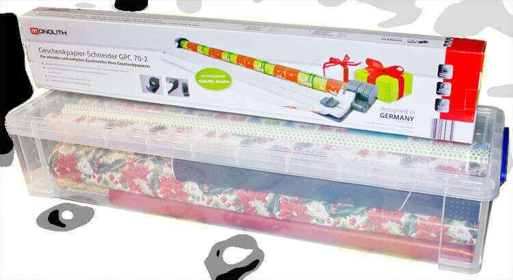 Geschenkpapier Aufbewahrung und Schneidemaschine